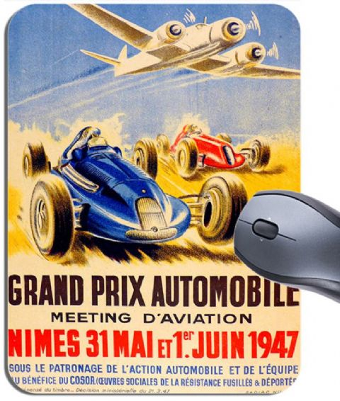 Art Deco Vintage French Nimes Grand Prix Poster Mouse Mat. Quality Mouse Pad